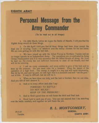 Personal Message from the Army Commander (to be read out to all troops), issued on 28 April 1943...