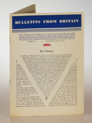 Bulletins from Britain, Number 49, Week Ending August 6 1941. Wing Commander L. V. Fraser