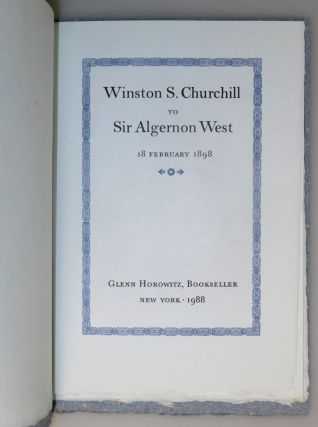 Winston S. Churchill to Sir Algernon West, 18 February 1898