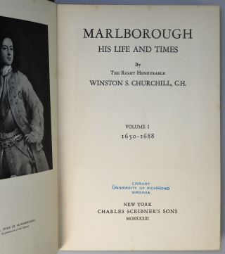 Marlborough: His Life and Times, Volumes I & II, owned and donated by eminent U.S. historian Douglas Southall Freeman