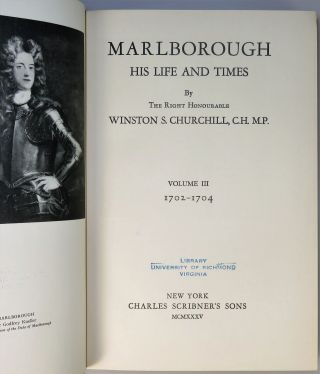Marlborough: His Life and Times, Volumes III & IV in the elusive publisher's slipcase and formerly owned and donated by eminent U.S. historian Douglas Southall Freeman