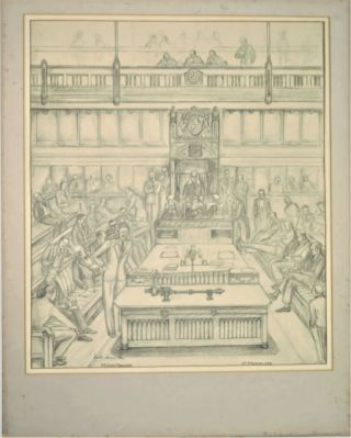 A large, original pencil sketch capturing the House of Commons on 1 March 1955, the day of Sir Winston S. Churchill's last major speech as Prime Minister, signed by future Prime Minister Harold Macmillan and depicting an array of prominent political figures, including Churchill and other past and future Prime Ministers