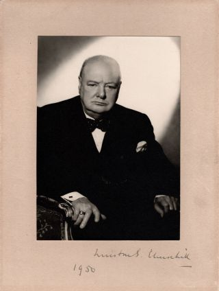A striking pair of original photographic studio portraits by Vivienne of both Winston S. Churchill and his wife, Clementine, signed and dated by Winston and signed by Clementine, Winston's photograph disproving the common notion that it was captured in 1951