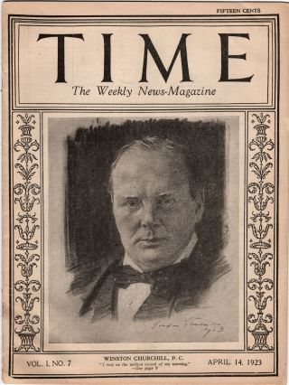 Winston Churchill on the cover of TIME Magazine, 14 April 1923, Vol. I, No. 7