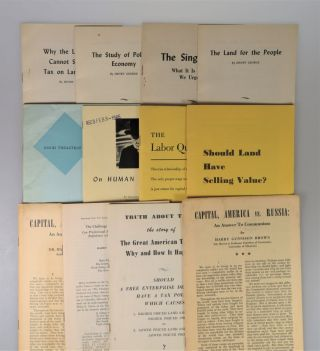 A collection of 19 pamphlets, many published by the Robert Shalkenbach Foundation, promoting and supporting the socio-economic ideology of Henry George, including On Human Rights by Winston S. Churchill and numerous pamphlets by George