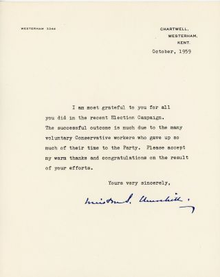 An original 1959 facsimile signed letter from Sir Winston S. Churchill sent to voluntary workers...