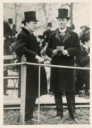 An original press photograph of then-First Lord of the Admiralty Winston Churchill and his friend...