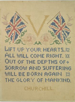 """LIFT UP YOUR HEARTS..."" A hand-stitched and framed Second World War memento featuring a..."