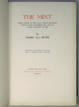 The Mint, copy #17 of 50 of the first American Copyright Edition