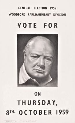 An original 1959 campaign poster from Winston S. Churchill's Woodford constituency featuring...