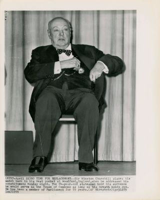NO TIME FOR REPLACEMENT - An original 20 April 1959 press photograph of Winston S. Churchill...