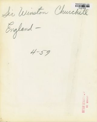 NO TIME FOR REPLACEMENT - An original 20 April 1959 press photograph of Winston S. Churchill speaking to his Woodford constituents to announce what would be the final time he stood for Parliament