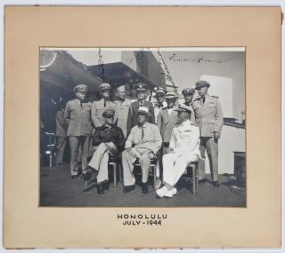 A Second World War image of President Franklin D. Roosevelt aboard a navy cruiser in Honolulu, Hawaii on 26 July 1944 signed by FDR and five of his close military and civilian advisors captured in the image and belonging to the Navy doctor who was with Roosevelt when he died eight and a half months later
