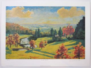 View from Chartwell, a limited and numbered lithograph reproduction of Churchill's c.1938...