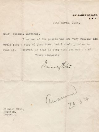 """...I don't promise to read it. However as that is your wish you won't mind!"" - A 20 March 1924..."