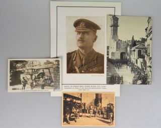 A 1917 portrait photograph of General Edmund H. Allenby, signed by Allenby, accompanied by images of the capture of Jerusalem under Allenby's command