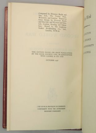 The Second World War, full set of six British first editions finely bound in full Niger Morocco for Henry Sotheran Ltd.