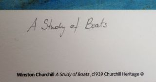 A Study of Boats, a limited and numbered lithograph reproduction of Churchill's c.1933 painting