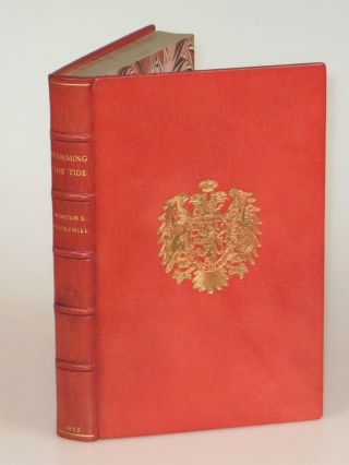 The Postwar Speeches, a full set of first editions finely bound in full Niger Morocco for Henry Sotheran, Ltd.: The Sinews of Peace, Europe Unite, In the Balance, Stemming the Tide, and The Unwritten Alliance, bound together with Maxims and Reflections, the first book of Churchill quotations