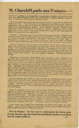 Churchill's 21 October 1940 broadcast address to the French people - the bibliographically unrecorded French language edition