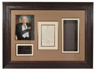 A handsomely framed 15 August 1912 typed, hand-emended, and signed letter from then-First Lord of the Admiralty Winston S. Churchill to his newly-appointed Naval Advisor to the Ottoman Empire, British Rear-Admiral Arthur Limpus