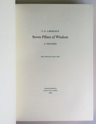 Seven Pillars of Wisdom: a Triumph, the complete 1922 'Oxford' text, the publisher's hand-numbered limited edition, VOLUME I ONLY from one of 80 two-volume sets bound thus in full morocco goatskin
