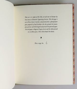 On Collecting Books and Printing Them Too, copy number 6 of 110 of the publisher's numbered and limited edition, signed by Paul W. Nash and accompanied by the original publisher's Prospectus