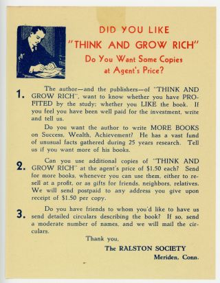 Think and Grow Rich, accompanied by a contemporary publisher's promotional leaflet