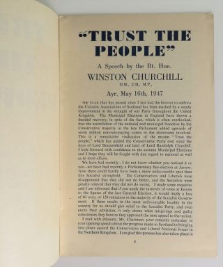 Trust the People, a speech by the Rt. Hon. Winston Churchill, Ayr, May 16th, 1947