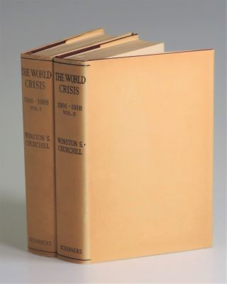The World Crisis, 1916-1918, Volumes I & II, in the original dust jackets and publisher's slipcase