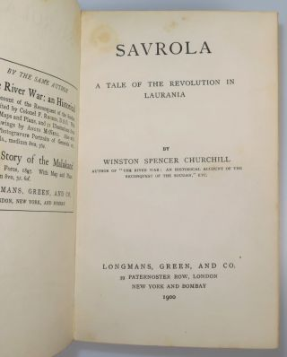 Savrola, finely bound in full red Morocco goatskin for Henry Sotheran, Ltd.